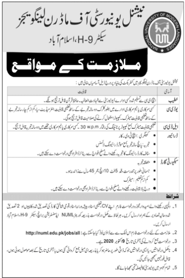 National University Of Modern Languages Islamabad Jobs 2020