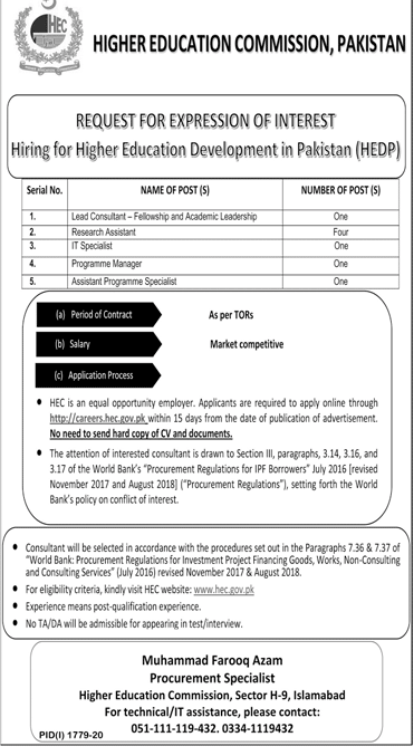 Higher Education Commission HEC Oct Jobs 2020