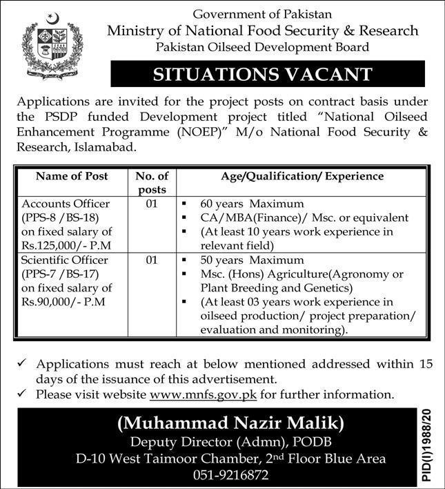 Ministry Of National Food Security and Research Jobs 2020