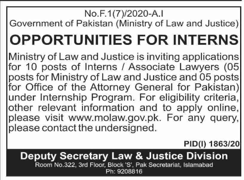 Ministry of Law and Justice Internships October 2020