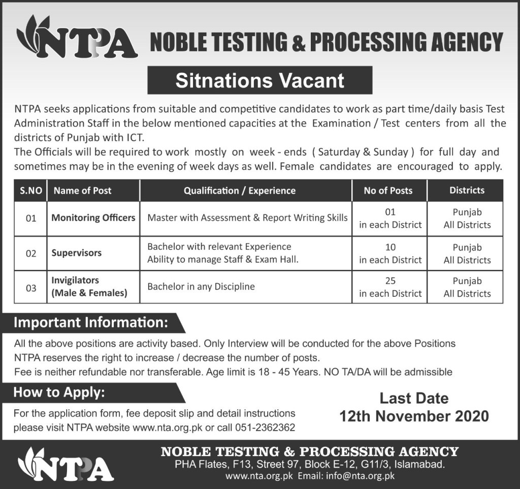 Noble Testing and Processing Agency NTPA Jobs October 2020