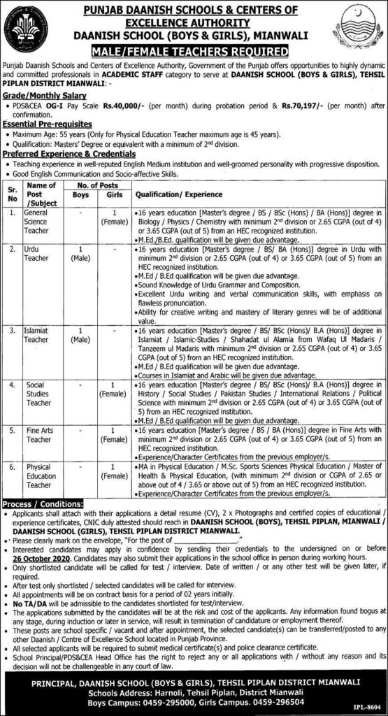 Punjab Daanish Schools Mianwali Teaching Jobs 2020