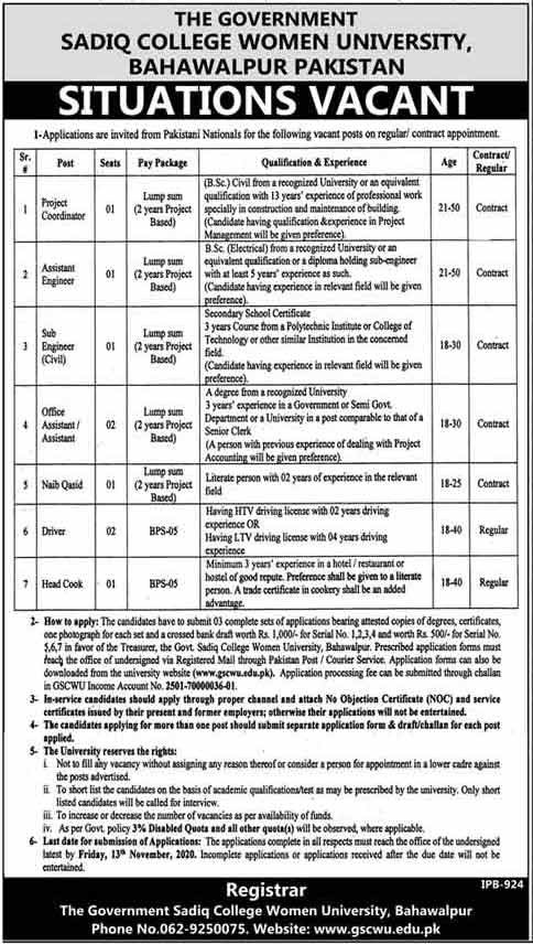 The Government Sadiq College Women University Bahawalpur Jobs 2020