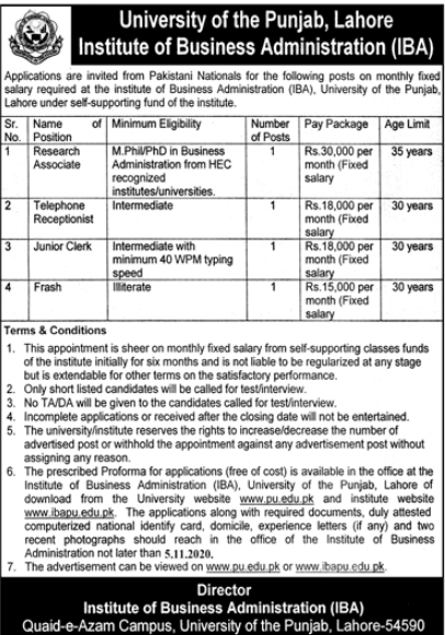 University Of the Punjab Institute Of Business Administration Lahore Jobs 2020