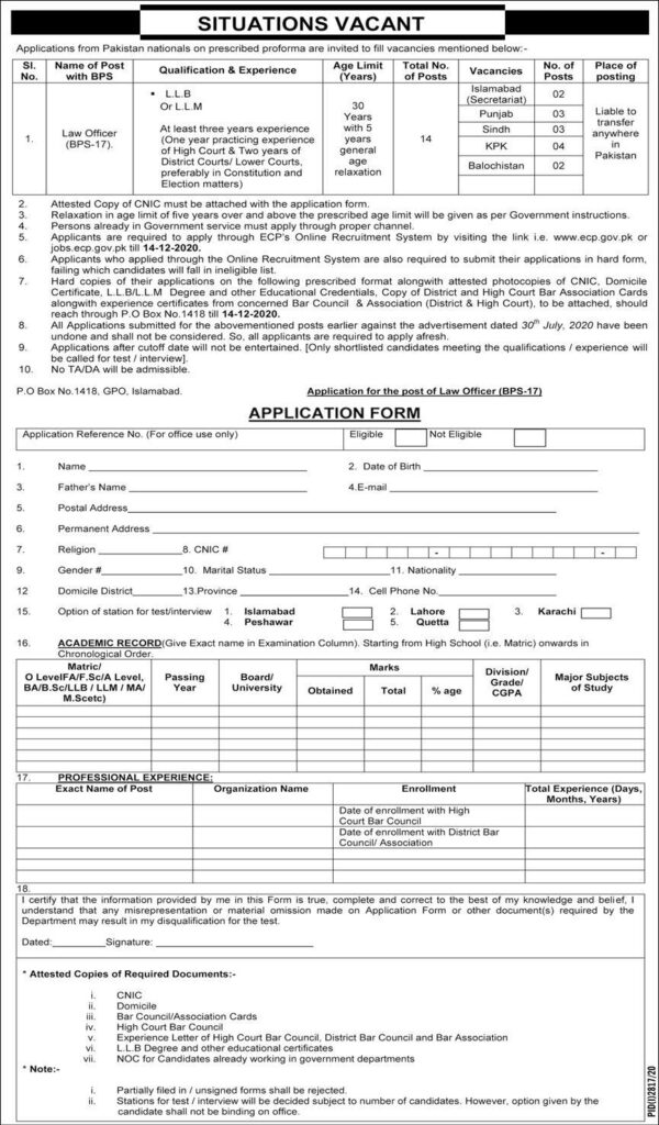 Election Commission of Pakistan ECP Law Officer Jobs November 2020