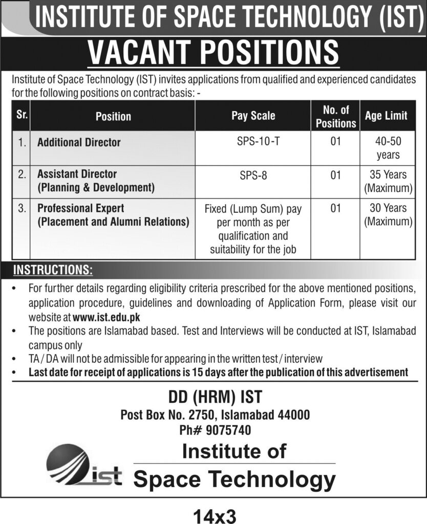 Institute of Space Technology IST Jobs November 2020