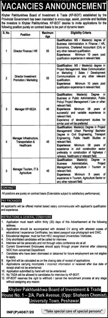 Khyber Pakhtunkhwa KPK Board of Investment and Trade Jobs November 2020