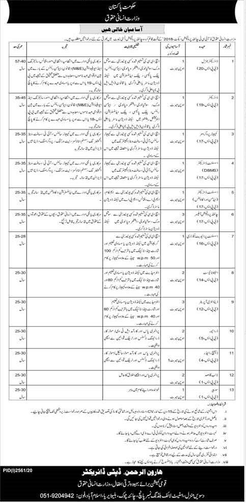 Ministry Of Human Rights MOHR Latest Jobs November 2020