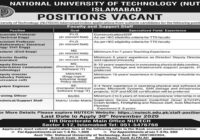 National University Of Technology NUTECH Islamabad Latest Jobs November 2020
