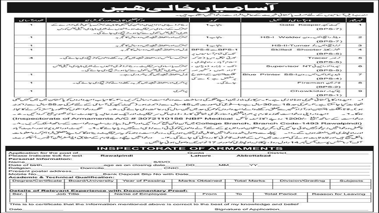 Pakistan Army Civilian Inspectorate Of Armaments Latest Jobs 2020