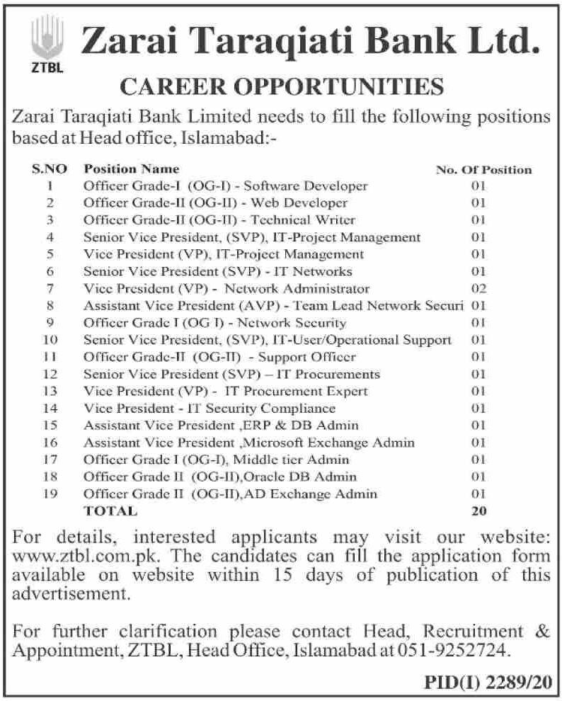 Zarai Taraqiati Bank Limited ZTBL Latest Career Opportunities November 2020